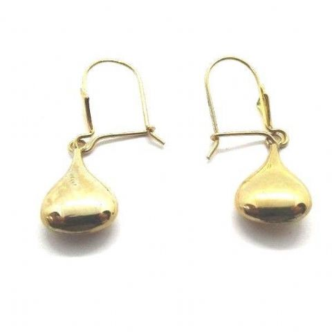Large 9ct Yellow Gold Vintage Liquid Drop Earrings on Fleur de Lys Hookwire